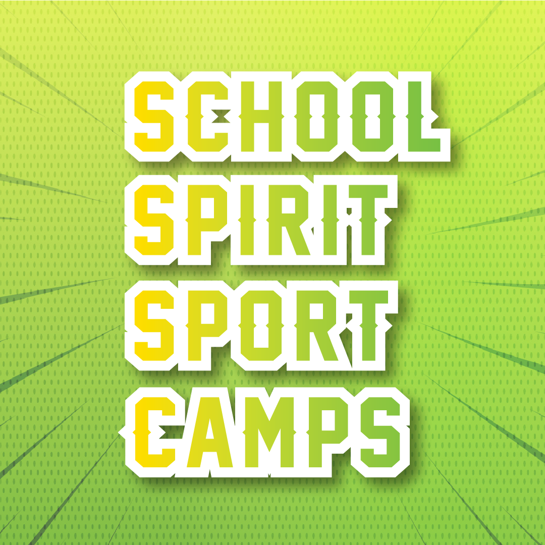 School Spirit Sport Camps logo with same text